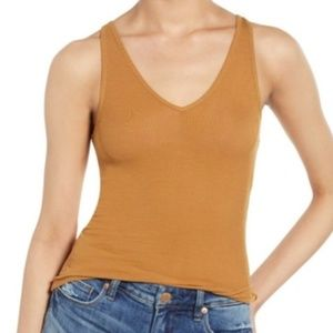 NWT BP Brown Cattail The Perfect Tank V-Neck M